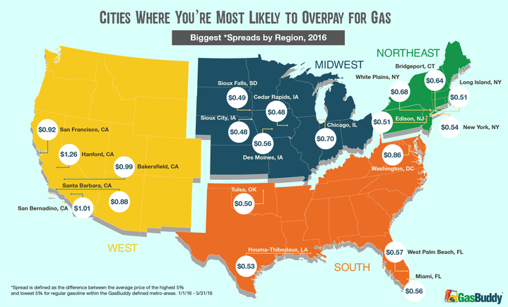 Cities Where You Re Most Likely To Overpay For Gas In 2016