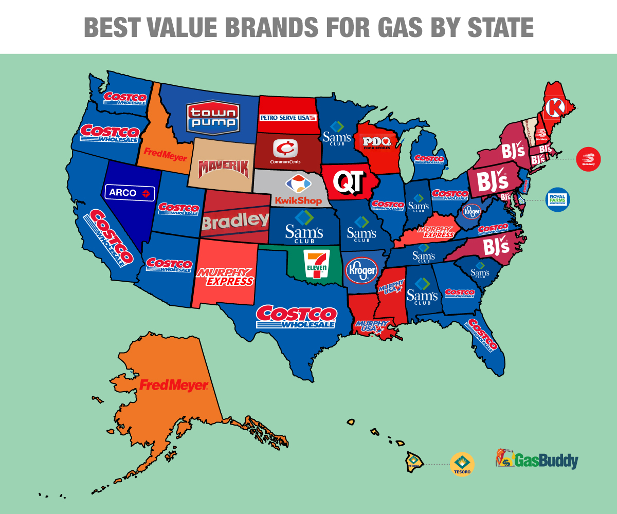 GasBuddy Reveals The Cheapest Places To Fill Up In GasBuddycom - Map of costco in us